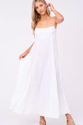Poplin Maxi Spaghetti Strap White Dress