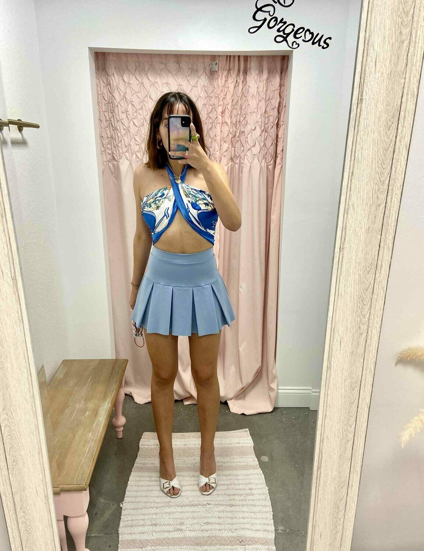 Blue Blush Tennis Skirt