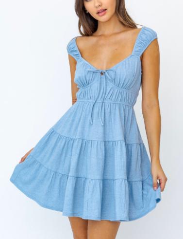 Cap Sleeve Tiered Mini Dress Blue