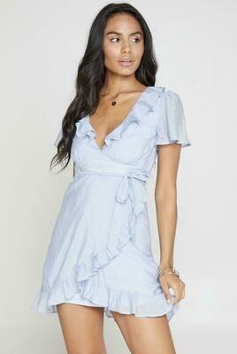 Violet Hour Wrap Mini Dress Baby Blue