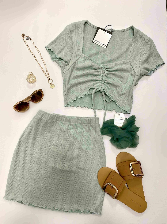 Knit Lettuce Hem Sage Mini Skirt