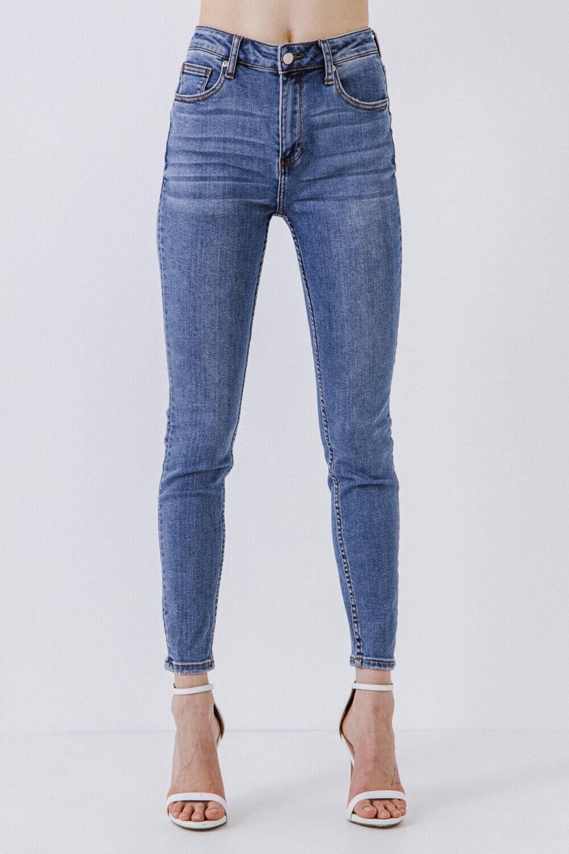 Midi Waist Skinny Ankle Jeans