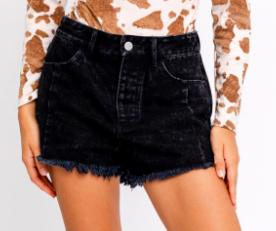 Distressed Hem Washed Black Shorts
