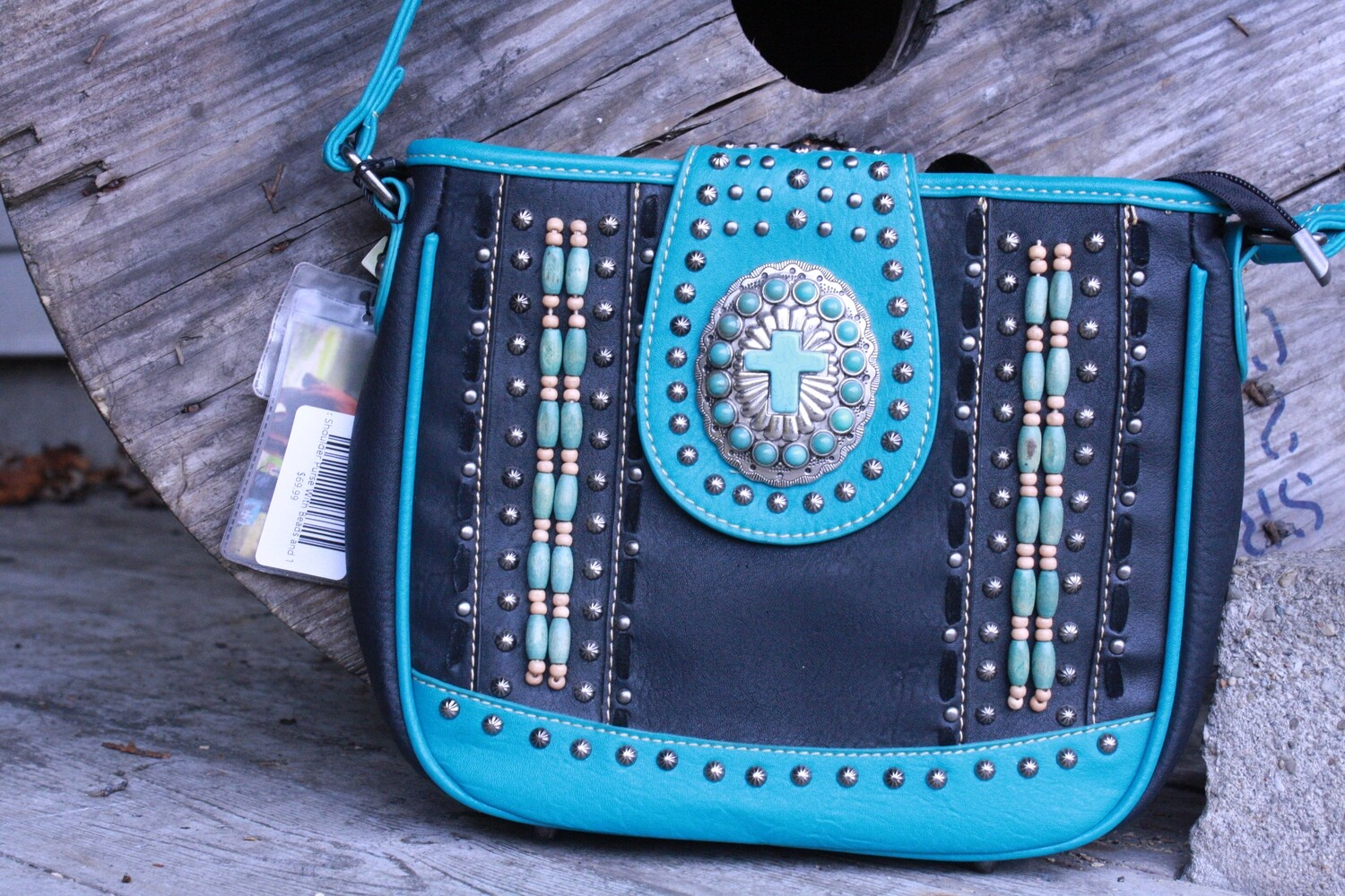 Montana West Teal/Black Shoulder Purse With Beads and Teal Cross
