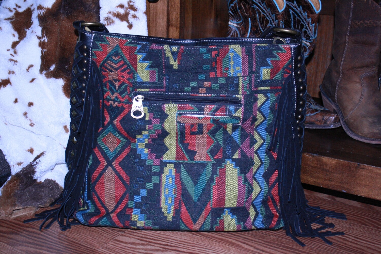 Montana West Black Tassel Mosaic Multi Colored Purse