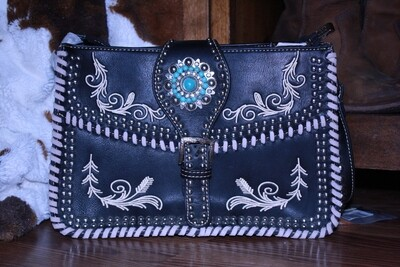 Montana West Sml Black Purse with White/Turquoise Concho