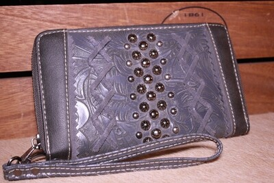 Montana West Blue/Grey Floral-Tooled Wallet