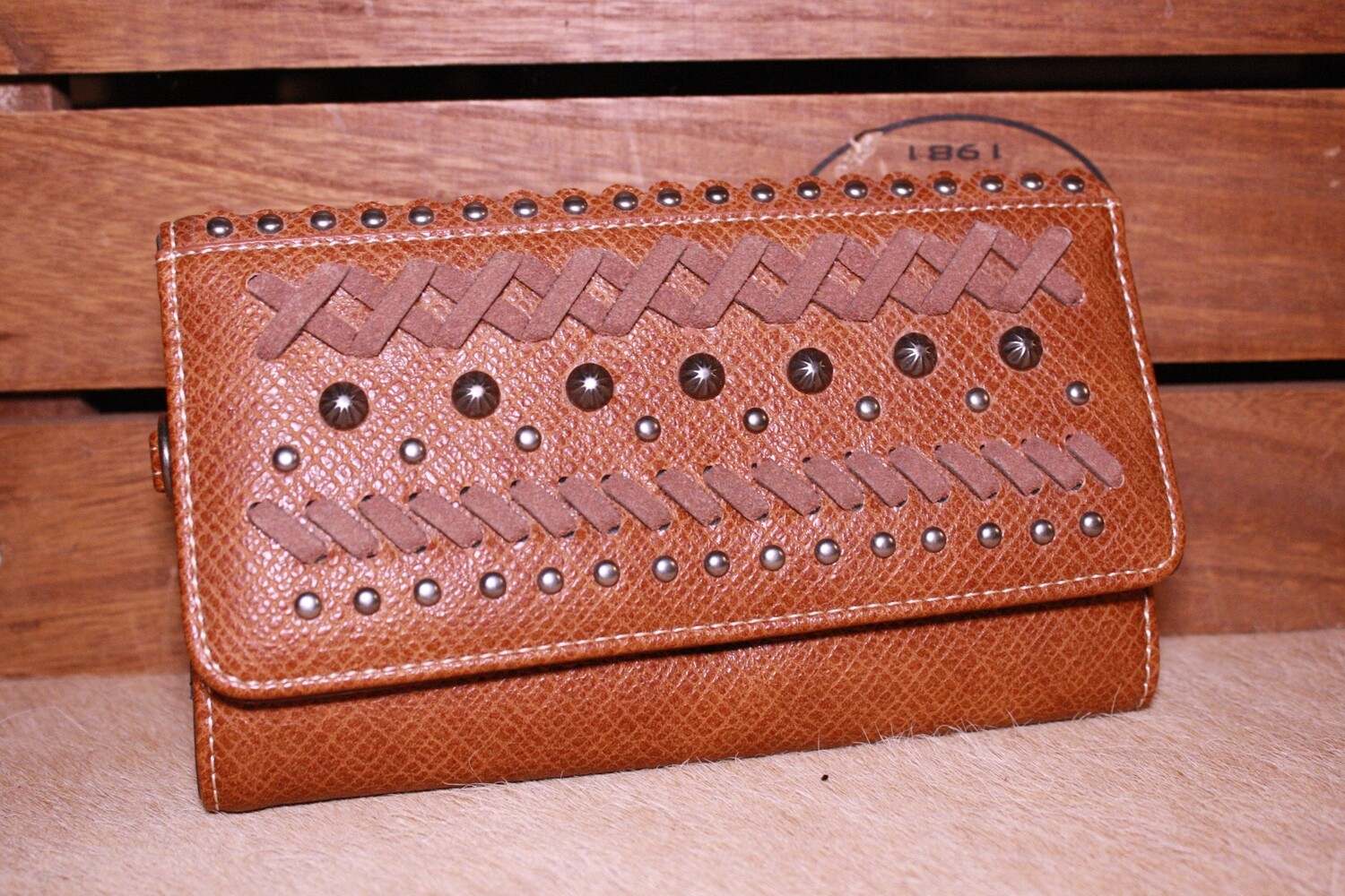 MW Brown Leather Studded Wallet