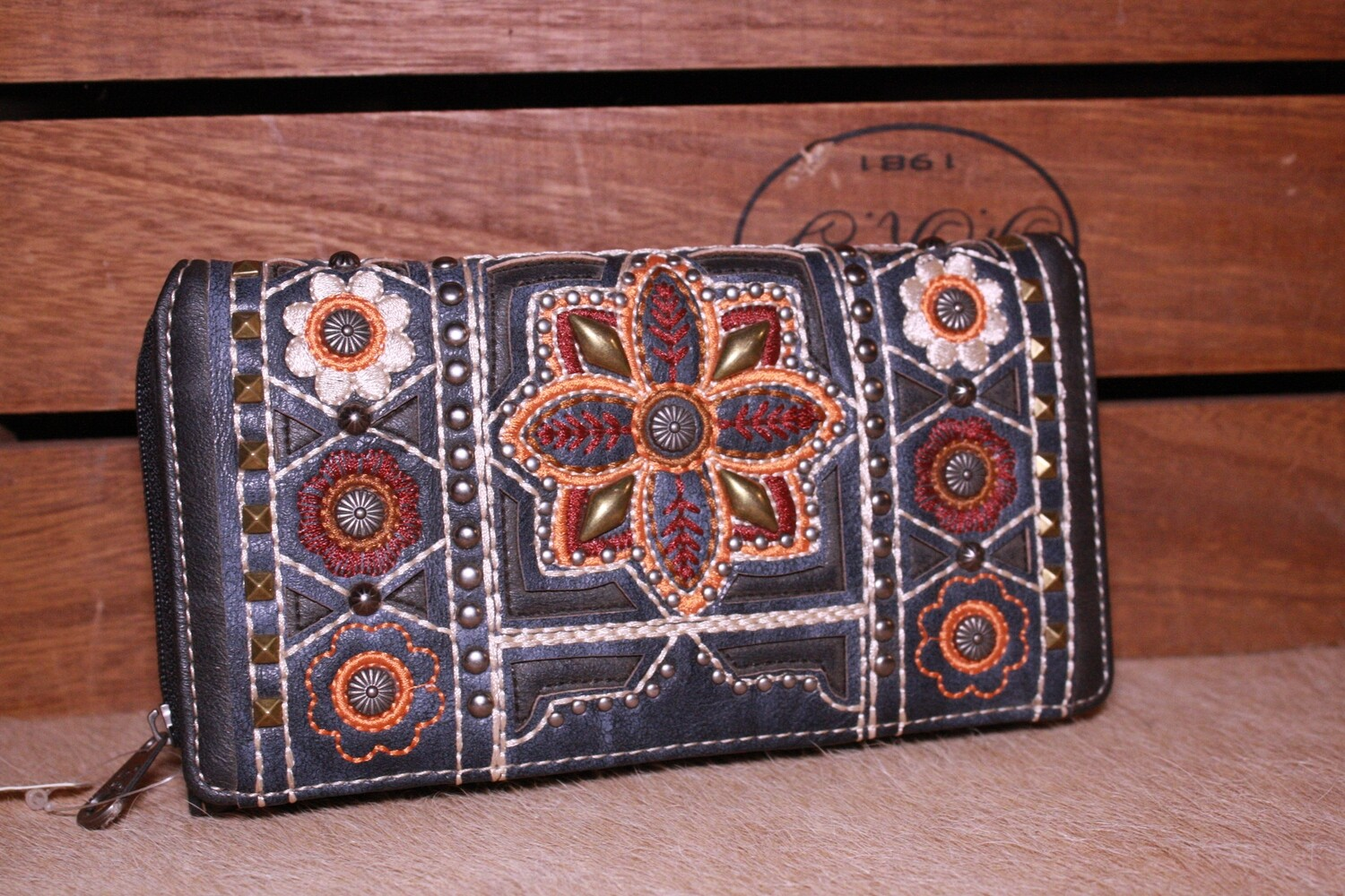 MW Navy Blue Embroidered Wallet