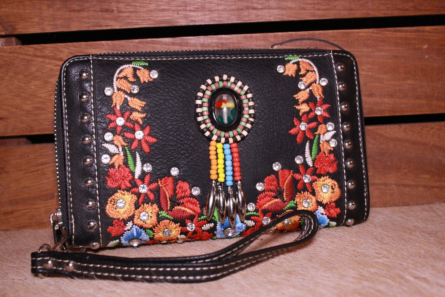Montana West Black Embroidered/Beaded Wallet