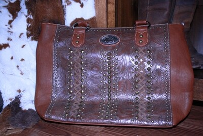 Montana West Large Floral Tooled Purse With Golden Studs