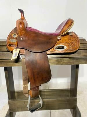 """CC Saddlery 15"""" Barrel Saddle-Pink Seat"""