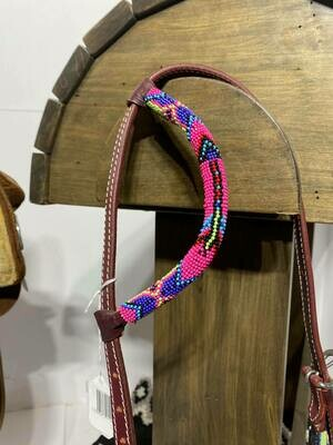One Ear HS Beaded Arrow with Pink/Lime Green Beads