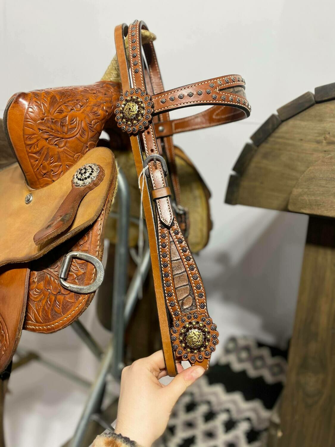Browband Head Stall with Inlayed Elephant Skin