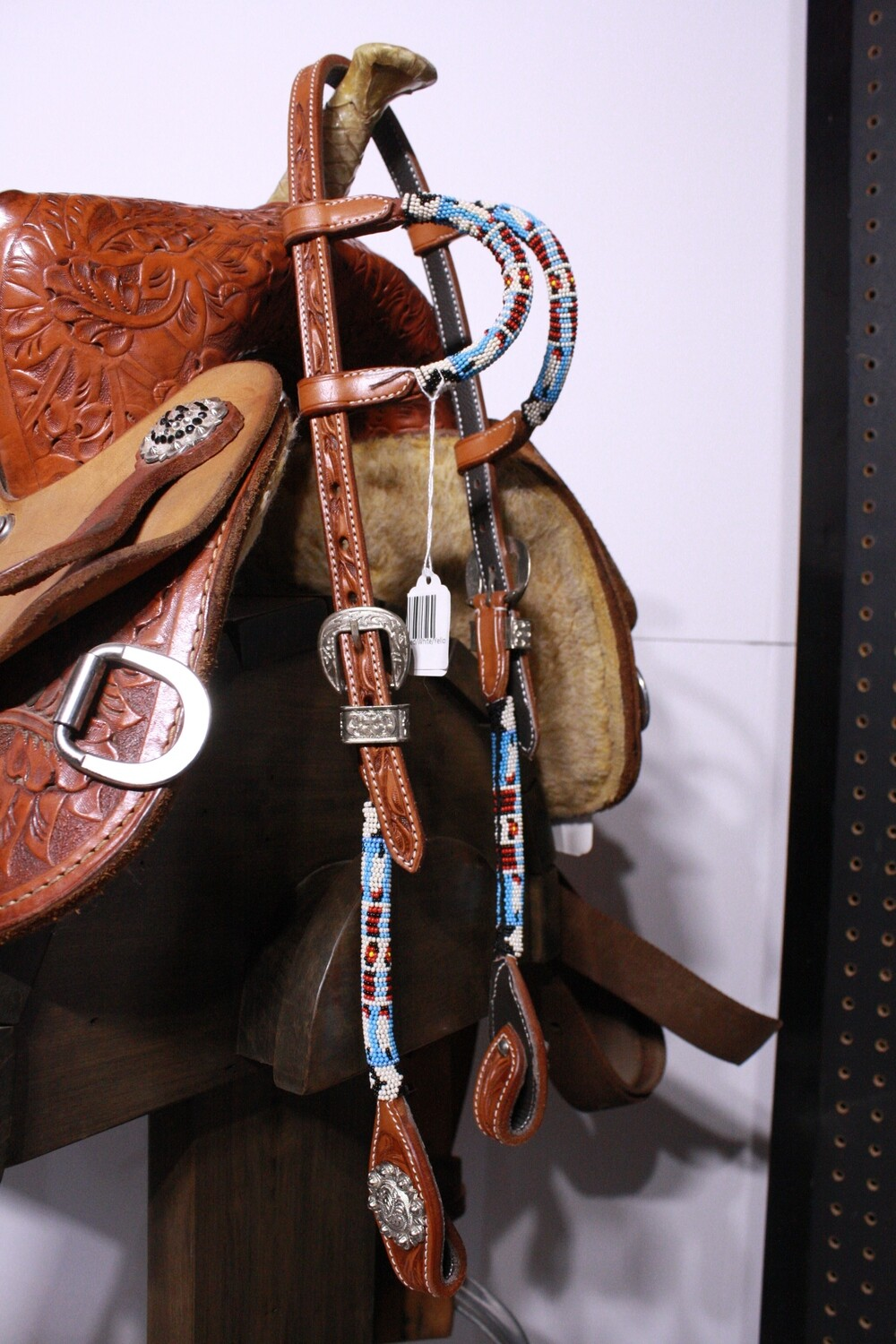 Beaded Double Ear Head Stall with Blue/Red/White/Yellow Bead Med Oil