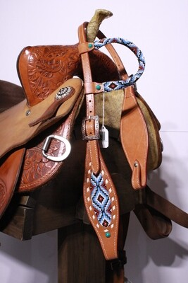 One Ear Beaded HS with Blue/Red/White Beads Med Oil