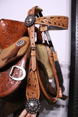 Tan Headstall with Sliver Flower Conchos-Browband