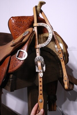 Congress Leather Head Stall with Red Gems/Flowers Tan
