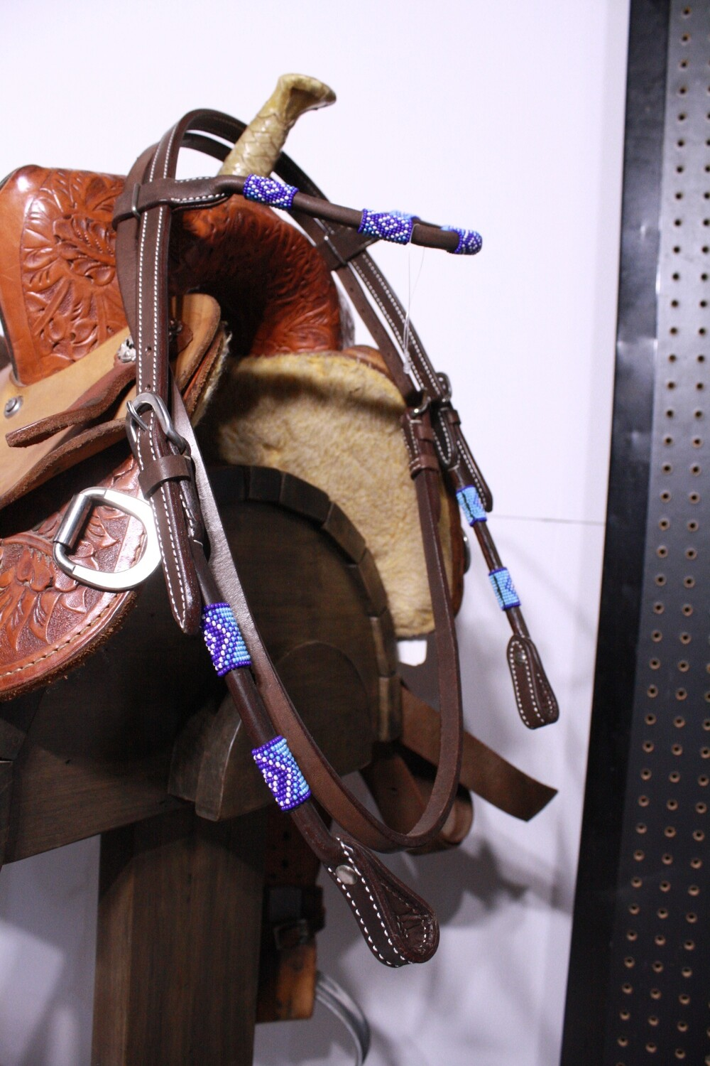 Umber Tack Dark Brown Browband Head Stall with Blue/Purple Beads