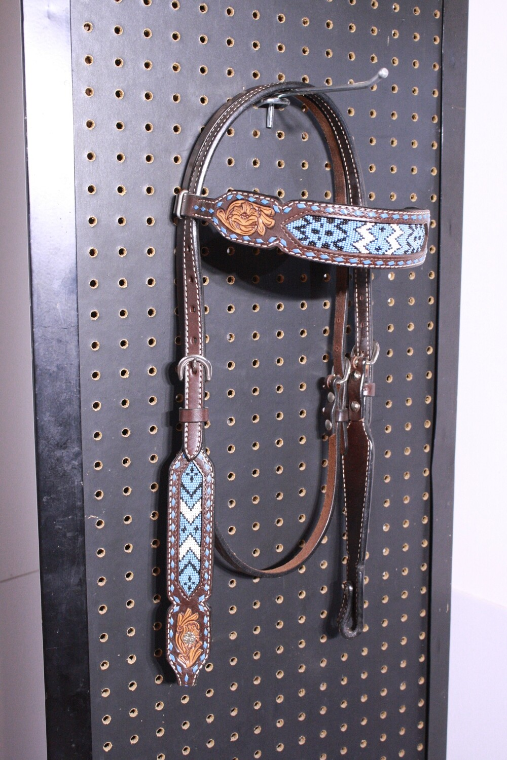 Drk Brown HS with Blue/White Bead Pattern Floral