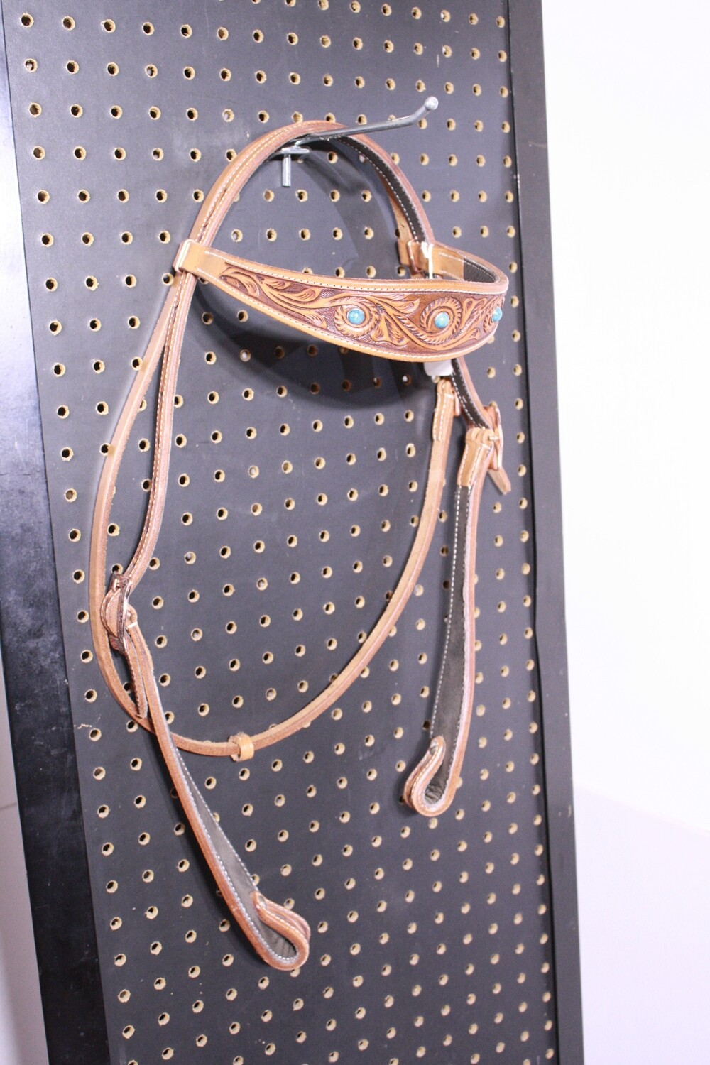 TE Head Stall Browband with Teal Beads/Light Oiled Tooled