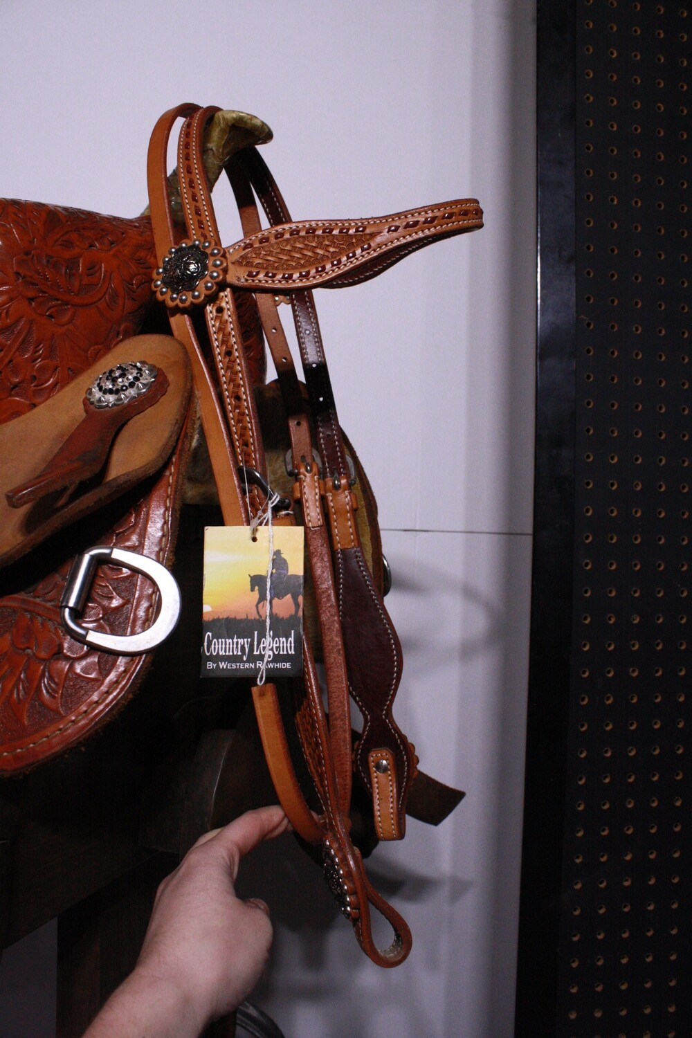 Country Legend Brow Band Light Oil Head Stall