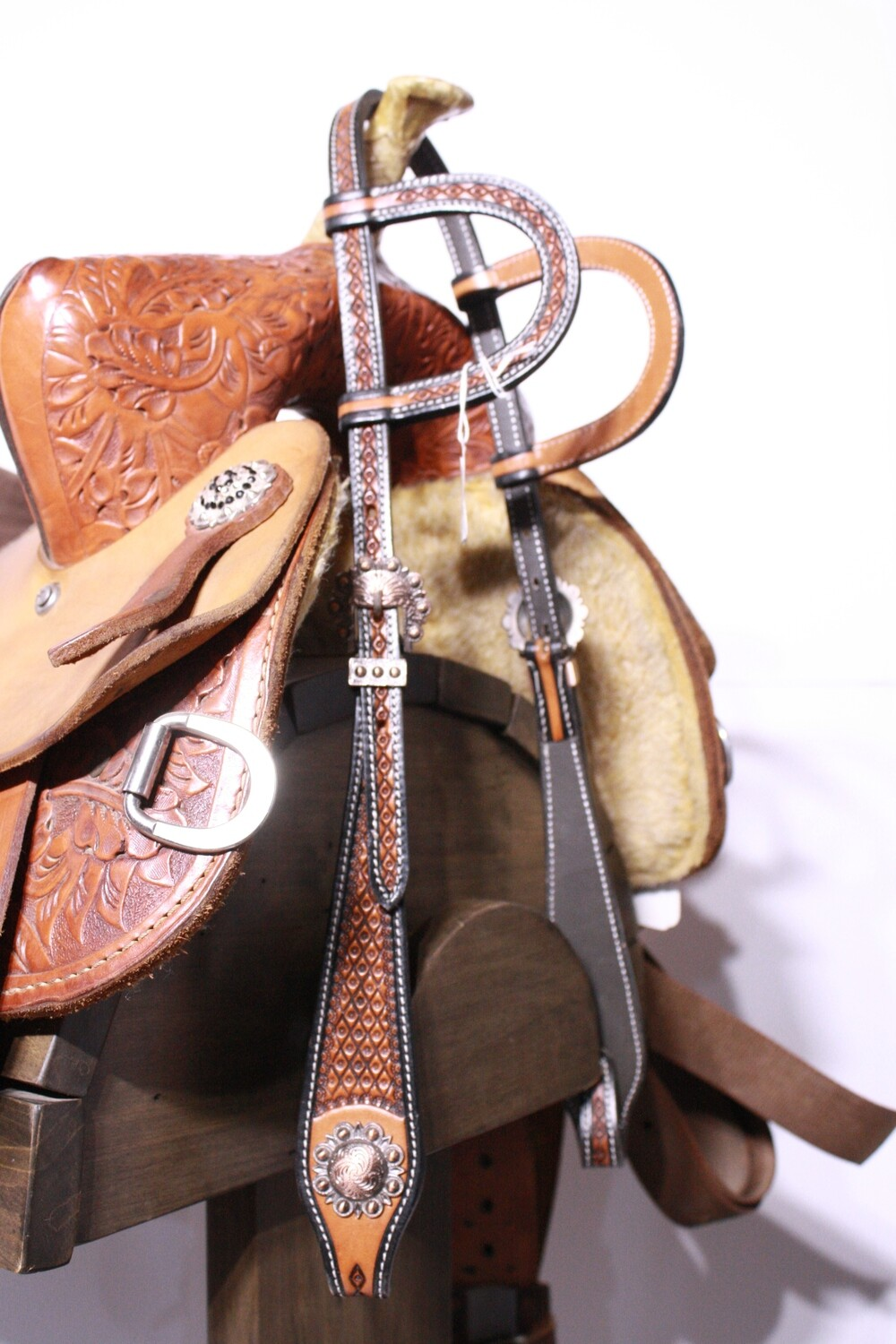 Two Tone Double Ear Head Stall with Brass Conchos