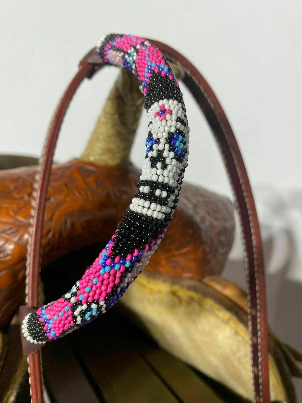Dark Oil One Ear Beaded Headstall with Pink Beads-Sugar Skull Design