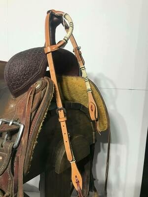Umber Tack One Ear HeadStall Tan with Blk/Wht Rawhide and Ties