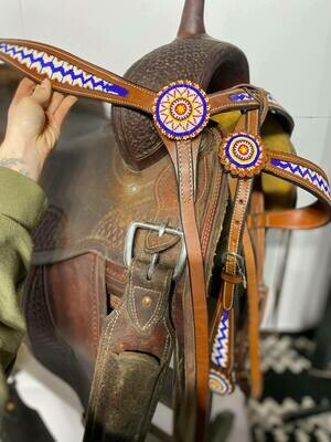 Cavalier Browband HeadStall and Breast Collar Set-Med Oil Beaded-Blue Beads