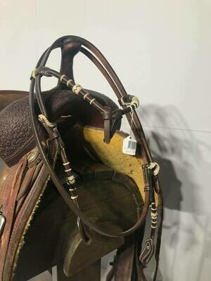 Umber Tack Chocolate HeadStall with Futurity Knot