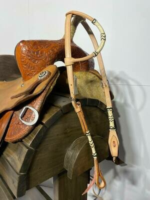 Umber Tack One Ear Natural with Rawhind (Blk/White) Ties