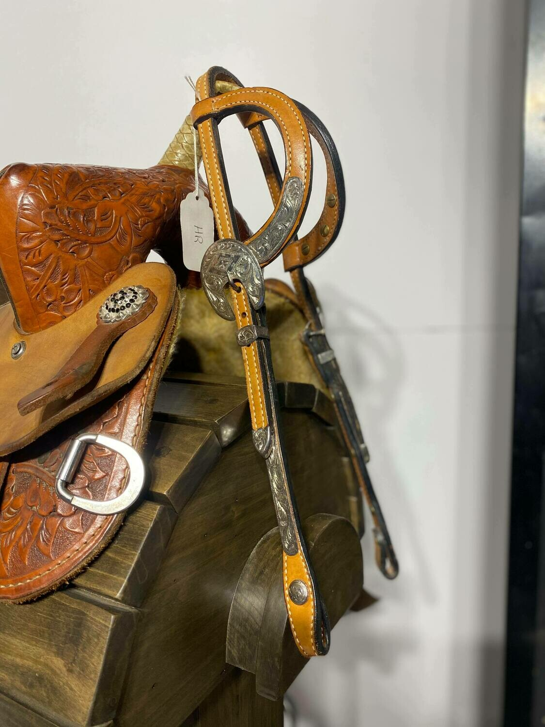 Light Oil Two Ear HeadStall with Engraved Stainless Steele