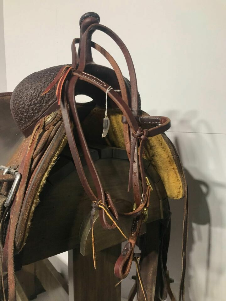 Dark Red/Brown BrowBand HeadStall with Ties & Futurity Knot