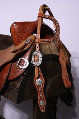 Umber Tack One Ear Head Stall Tan With Beads and Gems
