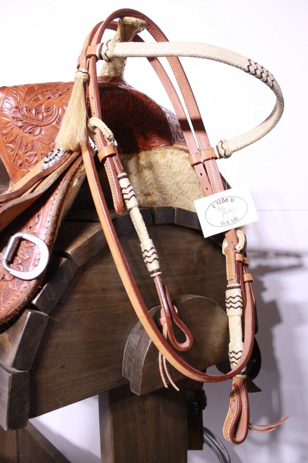 Umber Tack HS Light Browband with Horse Hair and Rawhide/Ties