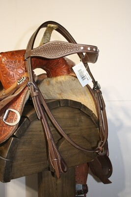 Umber Tack Headstall Dark Brown Browband with Studs