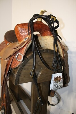 Tucker Trail Saddles Heart Concho Black Head Stall