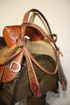 Two-Toned Floral-Tooled Browband Head Stall-Chicago Screws