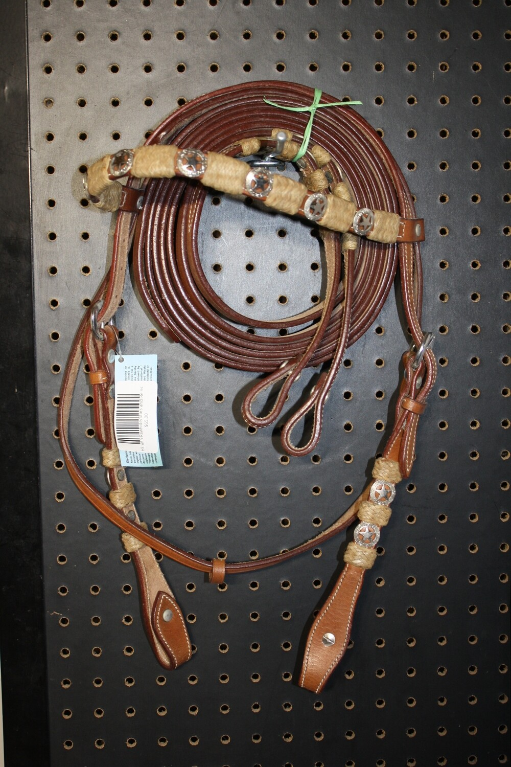 Head Stall with Rawhide/Stars & Reins