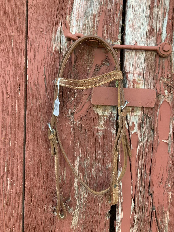 Med Oil Browband Headstall/Chicago Screws Basket Weave