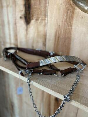 Med Oil Leather Show Halter with Silver and Gold-Full with Lead