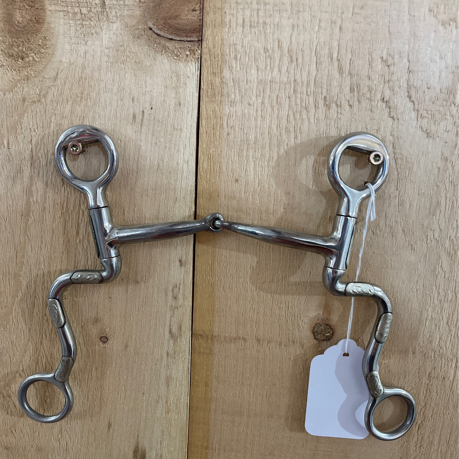 """SS 5"""" Snaffle Engraved Silver Trim"""