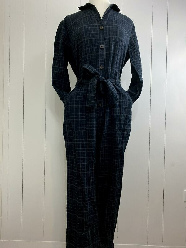 Belted Plaid Jumpsuit