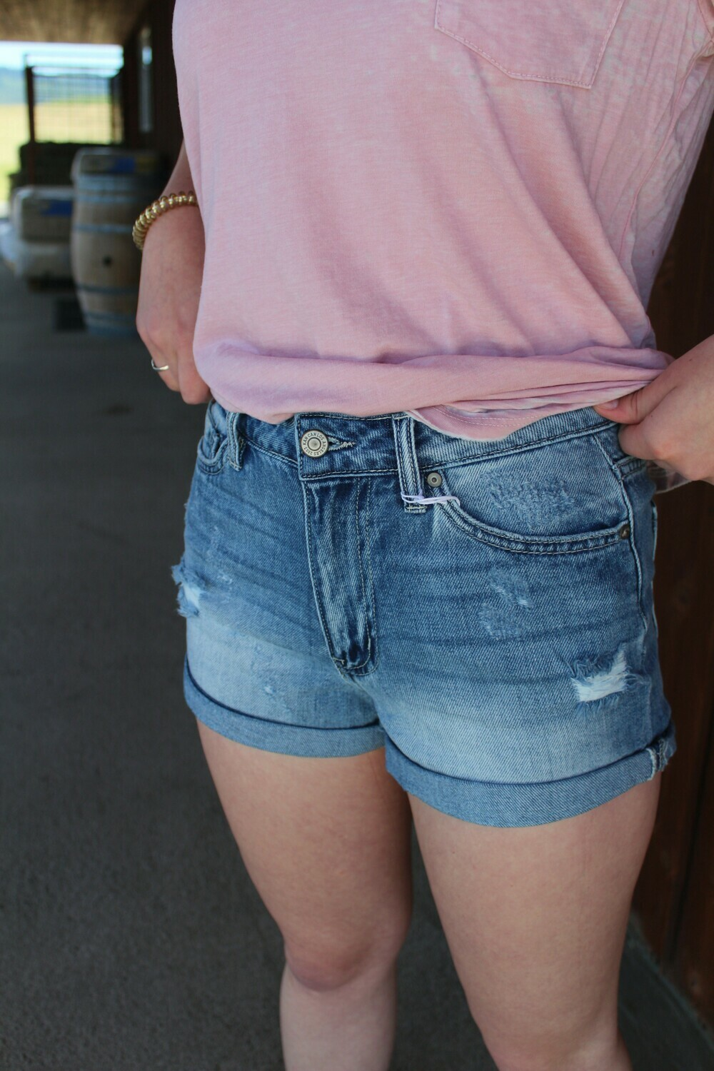 Light Wash Distressed Short