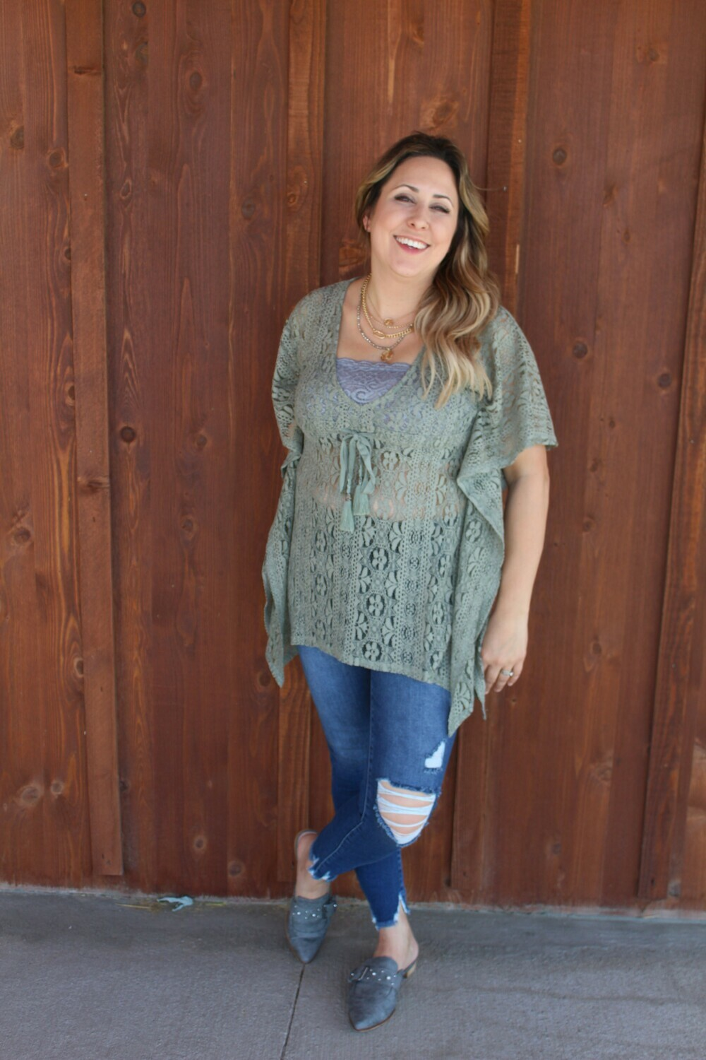 Olive Laced Tunic