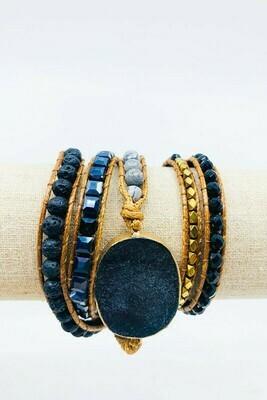 Stone Bracelet w/ Gold Beads