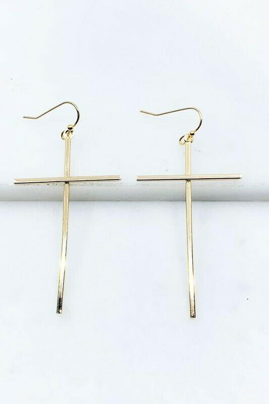 Drop Cross Earrings
