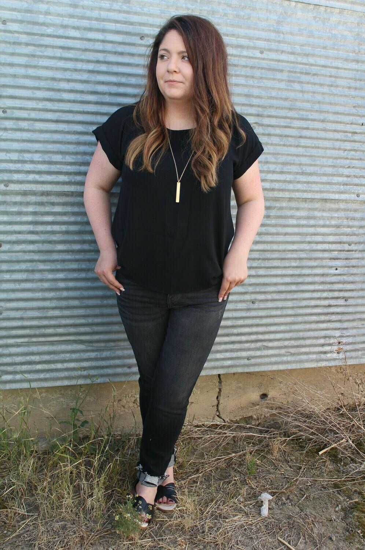 Black Cuffed Tunic Top
