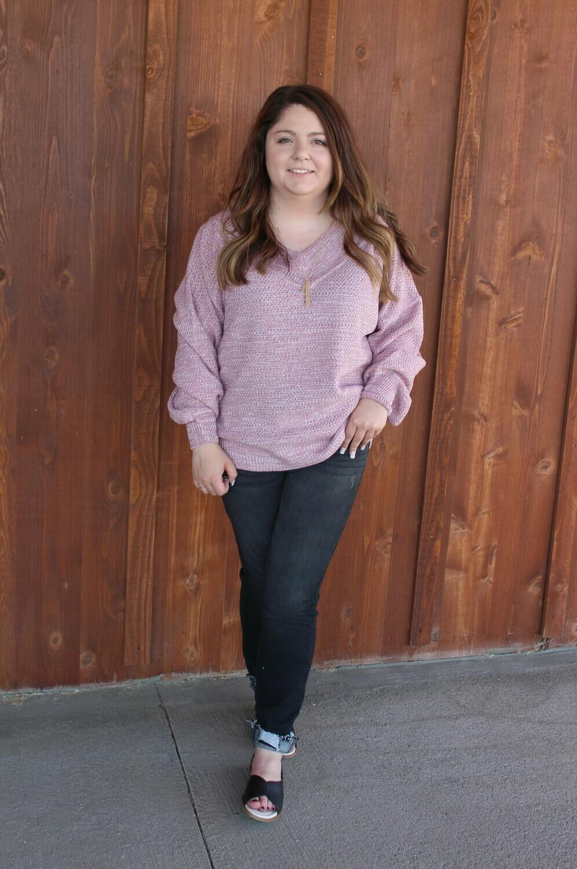 Light Rose V-Neck Sweater
